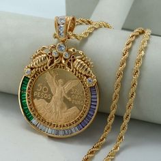 Big Coin Necklaces for Women/Men Gold Plated & Copper Mexican Peso With Cubic Zirconia Africa Coin Pendant Jewelry New