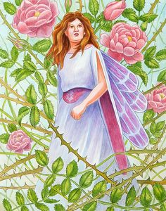 Fairy painting of a rose thorn fairy, watercolor by Rachel Armington. Rose Thorns, Fairy Paintings, Fairies, Folk, Aurora Sleeping Beauty, Greeting Cards, Watercolor, Wall Art, Disney Princess