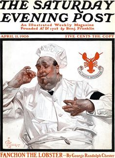 April 11, 1908   Saturday Evening Post  Fixing Lobster   J. C. Leyendecker