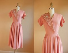 1940s Dress  Vintage 40s Dress  Shabby Pink Rayon by jumblelaya, $108.00