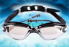 AnGlamorTM Swimming Goggles with Siamese Ear Plugs  UV Protection Anti Fog  Best Adult Swim Goggles black -- Want additional info? Click on the image.