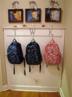 Backpack organizer by mudroom