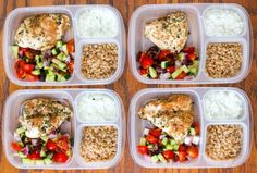 Delicious, easy, and healthy greek chicken meal prep bowls with whole grains, a cucumber salad, and homemade tzatziki. Everything for around 350 calories!