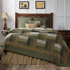 New Country Primitive MONTGOMERY Green Sage Brown Log Cabin Queen Quilt Set #VHC