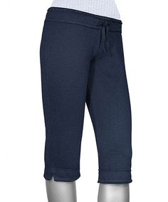 Another great find on #zulily! Navy Raw Edge Capri Yoga Pants #zulilyfinds
