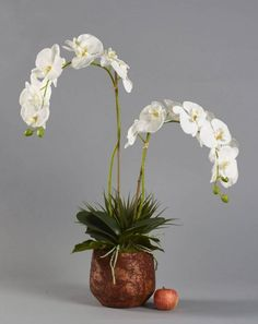 in Copper Coloured Planter Artificial Orchids, Artificial Flower Arrangements, Planters, Copper, Vase, Luxury, Handmade, Crafts, Beautiful