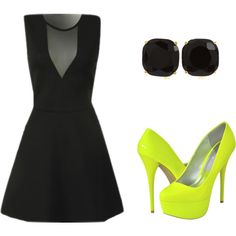 vegas outfit?!?? ;)    ustrendy, neon, black, dress, dresses, pumps, mesh, skater dress, party, cocktail