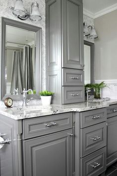 Look Over This How to get the most out of your new custom bathroom cabinetry and make sure it really works for your family! The post How to get the most out of your new custom bathroom cabinetry and make sure it r… appeared first on Home Decor . Bathroom Cabinetry, Bathroom Renovations, Home Remodeling, Decorating Bathrooms, Painted Cabinets In Bathroom, Kitchens With Painted Cabinets, Bathrooms Decor, Kitchen Remodeling, Grey Bathrooms