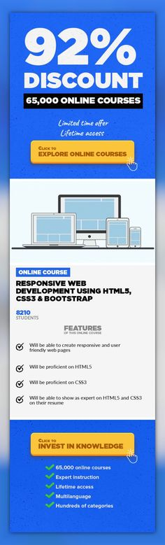 Responsive Web Development using HTML5, CSS3 & Bootstrap Web Development, Development #onlinecourses #learningideas #onlinedegreecareer  Master yourself in HTML5, CSS3, Bootstrap and resonsive web development By completion this course, you will be able to read and write front end web development code using HTML5, CSS3 & Bootstrap. This course gives you hands on and practical experience on detailed...