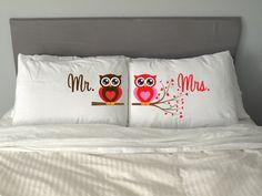 Herr Frau Eule Pillow Case Valentins Tag Hochzeitspaar von artEVO