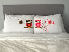 Mr Mrs OWL  Pillow Case 50cmx70cm Valentine's Day Wedding Perfect Gift Couple on Etsy, $29.67
