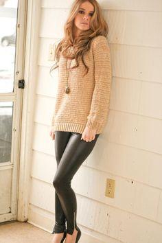 oversized sweater + faux leather leggings