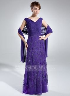 A-Line/Princess Off-the-Shoulder Floor-Length Chiffon Tulle Mother of the Bride Dress With Ruffle Lace (008006021)