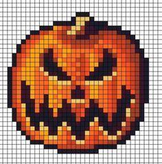 Spooky perler bead Jack o lantern Halloween Pixel Art Templates, Perler Bead Templates, Diy Perler Beads, Perler Bead Art, Melty Bead Patterns, Pearler Bead Patterns, Perler Patterns, Beading Patterns, Graph Paper Art