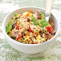 Fried Rice Recipe - Delish.com\sub chicken, sesame oil, and alter vegs
