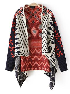 range Long Sleeve Tribal #Pattern #Asymmetrical Cardigan #boho