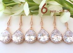 Set Of 6 12% Off Will You Be My Bridesmaid Gift, Bridal Earrings, Rose Gold Earrings, Wedding Jewelry, Crystal Earrings Dangle Drop Earring