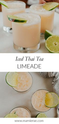 Need an easy drink for summer? Mix up this Ice Thai tea Limeade! With four simple ingredients, it's perfect for an afternoon treat or make up a whole batch for a summer party. Easy Mocktails, Easy Mocktail Recipes, Summer Drink Recipes, Tea Recipes, Summer Drinks, Brunch Recipes, Brunch Drinks, Tea Cocktails