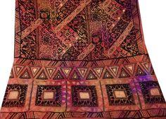 Vintage India Dupatta Pure Satin Silk Fabric Embroidered Stole Deco Brown Veil