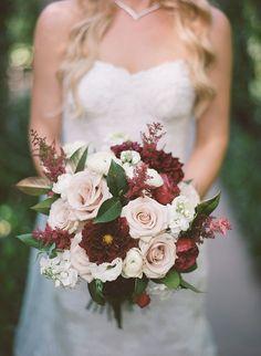 Burgundy dahlias, peonies, champagne roses, astilbe wedding bouquet | Rancho Valencia Wedding | Robert & Kathleen Photographers