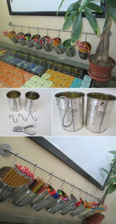 Tin Can  Holders on  a bar. Great idea to hold the stuff in that 'junk' drawer. Smaller cans for rubber bands, twist ties, candles....attach one can below the other for even more stuff!  Also good for children to keep organization and where to find.....