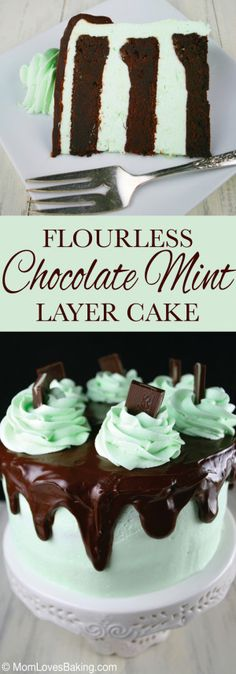 Flourless Chocolate Mint Layer Cake