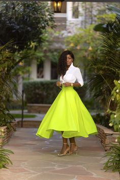Fitted Button-Down Shirt + Neon Swing Midi Skirt – StylePantry Midi Skirt Outfit, Dress Skirt, Shirt Skirt, Western Outfits Women, Style Pantry, African Dresses For Women, Diva Fashion, Fashion Tips For Women, Classy Women