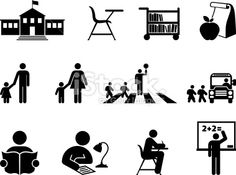 school and education black and white vector icon set Royalty Free Stock Vector Art Illustration