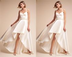 Discount High Quality Satin Hi Low Cheap Wedding Reception Dresses Bridal Gowns V Neck Spaghetti Straps Crystal Ribbon Waist Ruched Wedding Gowns The Wedding Dresses Vintage A Line Wedding Dresses From Stunningdress88, $73.87  DHgate.Com Cheap Wedding Reception, Reception Dresses, Bridal Dresses, Sheer Wedding Dress, Wedding Gowns, Plus Size Dresses, Short Dresses, Plus Size Wedding, Stunning Dresses