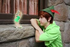 Peter Pan and TinkerBell in Disneyland - I want this picture in my room. (;