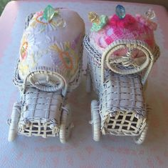Pincushions 2 Vintage Wicker Rattan Car Truck Upcycled with Reclaimed Vintage Embroidery - prettyware