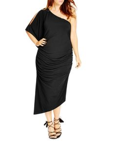 City Chic Ruched One Shoulder Dress