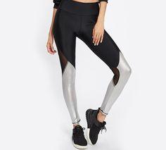 e8bb06e9758ba0 Two Tone Mesh Insert Leggings Color Block Women's Workout Leggings Multi color  Women's Fitness Wear Leggings