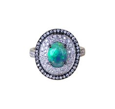 Australian black opal diamond 14k white gold and black gold engagement ring Size 7.5 - Ready to ship or Resize