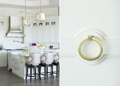Caitlin Wilson Design kitchen cabinet door detail ring pull brass hardware
