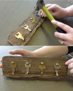 Beautiful Ways to Display Vintage Keys Use your old house keys or vintage skeleton keys to create this one-of-a-kind rack.Use your old house keys or vintage skeleton keys to create this one-of-a-kind rack. Wood Projects, Woodworking Projects, Craft Projects, Projects To Try, Woodworking Lamp, Diy Key Projects, Sewing Projects, Woodworking Jointer, Woodworking Workshop