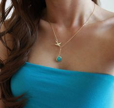 Tiffany Blue Stone and Gold Bird Necklace