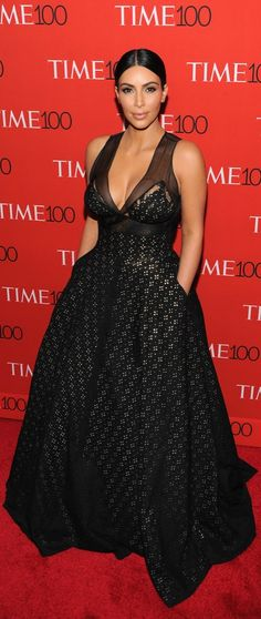 Kim Kardashian wearing a Spring 2015 Sophie Theallet eyelet gown at the Time 100 Gala.