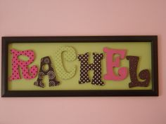 Cute way to display name, wood letters inside frame