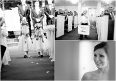 Dallas wedding photographer, Mary Fields Photography, indoor church wedding ceremony, flower girl dress and floral headband, ring bearer sign, black and white wedding ceremony pictures, Ridgewood Country Club, Waco, TX