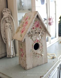Shabby Chic Roses Birdhouse with Crystal and Pearl Perch. Available at www.debicoules.com