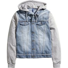 Denim jacket with hood 29.99 ($47) ❤ liked on Polyvore featuring outerwear, jackets, men, jean jacket, leather jacket, flap jacket, blue denim jacket and hooded jean jacket