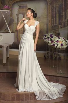 Find More Wedding Dresses Information about New 2016 Country Style Elegant Cap Sleeves Lace Beaded Open Back Lace up Beach Wedding Dresses Vestidos De Noiva Chiffon QW12 ,High Quality dress store,China dresses green Suppliers, Cheap dress structure from Alice Wedding Dresses International co., LTD. on Aliexpress.com