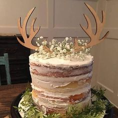 Custom Wood Deer Antler Natural Wood Laser Cut Cake Topper Winter Woodland Themed Baby Shower Wedding - Cakes - Set of two antlers (in Natural Wood as Pictured). The size is approximately wide x tall e - Deer Baby Showers, Baby Shower Niño, Shower Bebe, Baby Shower Winter, Boy Baby Shower Cakes, Cake Baby, Girl Shower, Shower Party, Bridal Shower