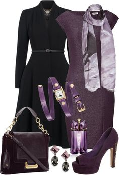 Purple, Black by gangdise on Polyvore