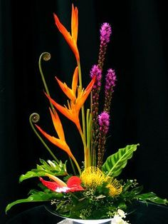 my floral shop: gorgeous flower arrangements using tropicals fiddle head fern yellow pin cushion protea/ Ikebana Arrangements, Arrangement Floral Ikebana, Tropical Floral Arrangements, Flower Arrangement Designs, Beautiful Flower Arrangements, Flower Designs, Beautiful Flowers, Art Floral, Deco Floral