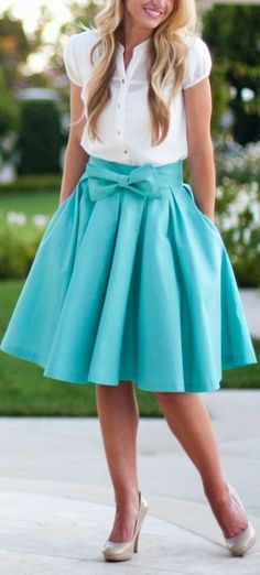 Tiffany Blue Bow Front Skirt ❤︎