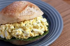 Healthy egg salad: Egg Salad with Yogurt and Dill  By Monica              Servings: 4-6 servings  Ingredients  8 large eggs, boiled and peeled  1/3 cup low-fat Greek yogurt  1 tablespoon mayonnaise  1 tablespoon minced fresh dill  3/4 teaspoon kosher salt  1/2 teaspoon freshly ground black pepper