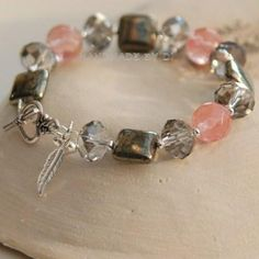 Pink Cherry Quartz and Gold Pyrite Bracelet
