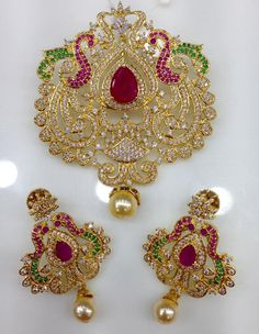 Exclusuive Beautiful CZ Pendents | Buy Online Jewellery | Elegant Fashion Wear Price;2495 #cz #ruby #pendent